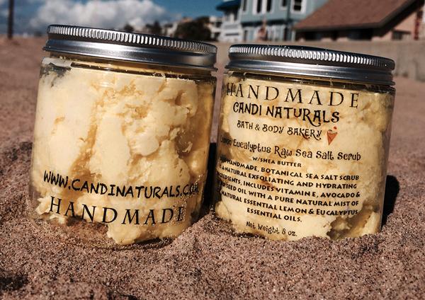 Lemon-Eucalyptus Raw Sea Salt w/Shea Butter